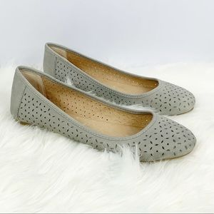 Lucky Brand Perforated Slate Blue Grey Eaden Flats